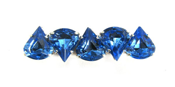 Czech Rhinestone Crystal Pear Sew On Stone 13x7.8mm, Light Sapphire In Silver Setting