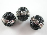 Czech Rhinestone Cathedral Ball Bead Crystal, Black Setting