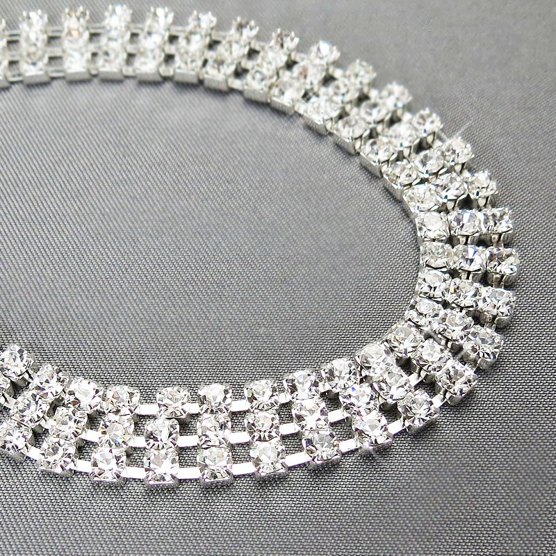 d778781375 Czech Rhinestone Bracelet 3-Row Flat, Lobster Clasp with Extension ...