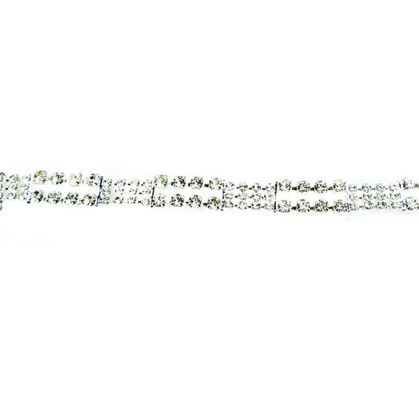 Czech Rhinestone Connector, Textured, Crystal/Silver, 7""