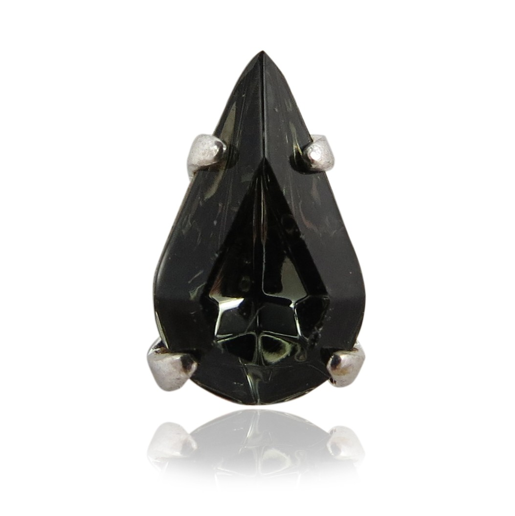 Czech Rhinestone Crystal Pear Sew On Stone 10x6mm, Jet Black In Silver Setting