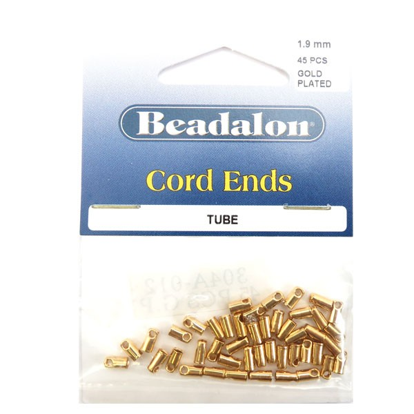 Cord Ends, Light 1.9 mm (.074 in), Gold Color, 45 pc