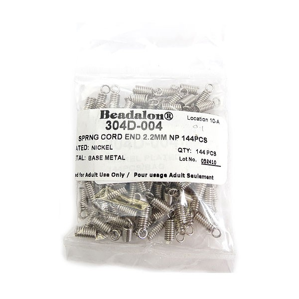 Spring Cord Ends, 2.2 mm (.086 in), Nickel Plated, 144 pc