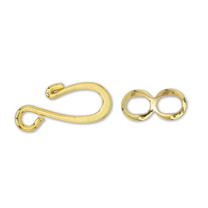Hook & Eye Clasps, Medium, Gold Color, 13 sets