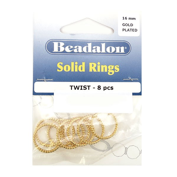 Solid Rings, 16 mm (.630 in), Twist, Gold Color, 8 pc