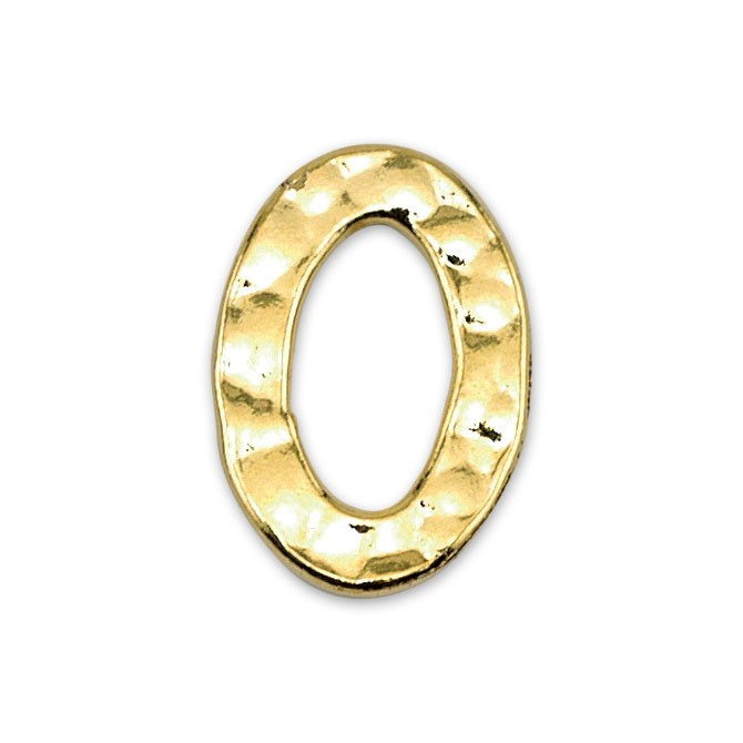 Solid Rings, 11 x 16 mm (.433 x .630 in), Textured, Gold Color, 7 pc