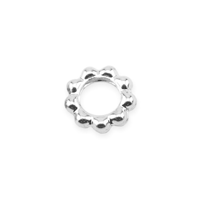 Solid Rings, 6 mm (.236 in), Beaded, Silver Plated, 20 pc