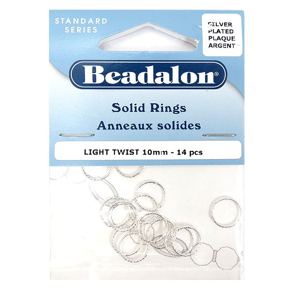 Solid Rings, 10 mm (.4 in), Light Twist, Silver Plated,14 pc