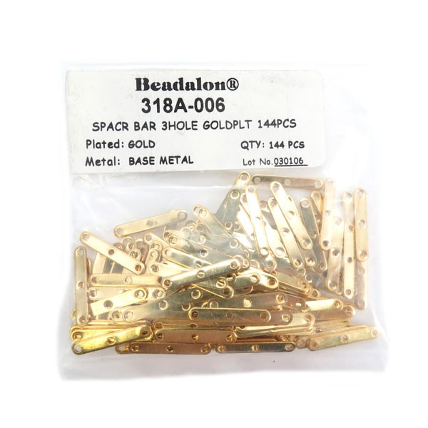 Spacer Bars, 3 Hole, Gold Color, 144 pc