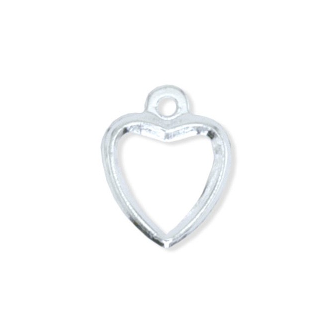Tags, Open Heart, Silver Plated, 12 pc