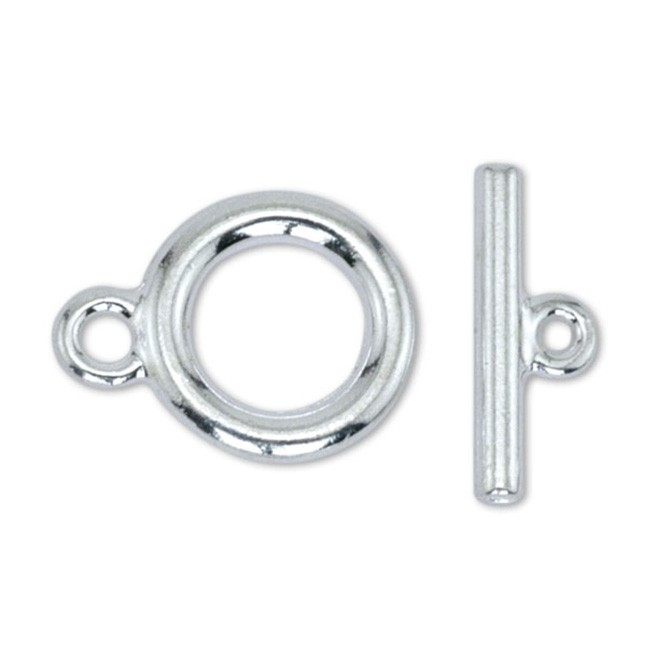 Toggle Clasps, Medium, Silver Plated, 2 sets