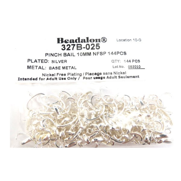 Pinch Bail, 10 mm (.4 in), Silver Plated, 144 pc
