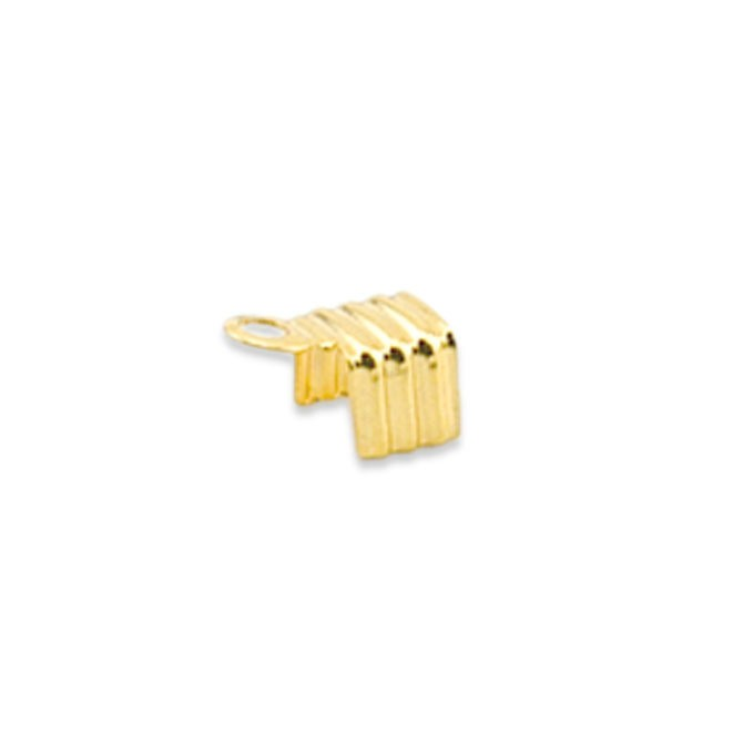 Cord Ends, Fold-Over, Gold Color, 20 pc