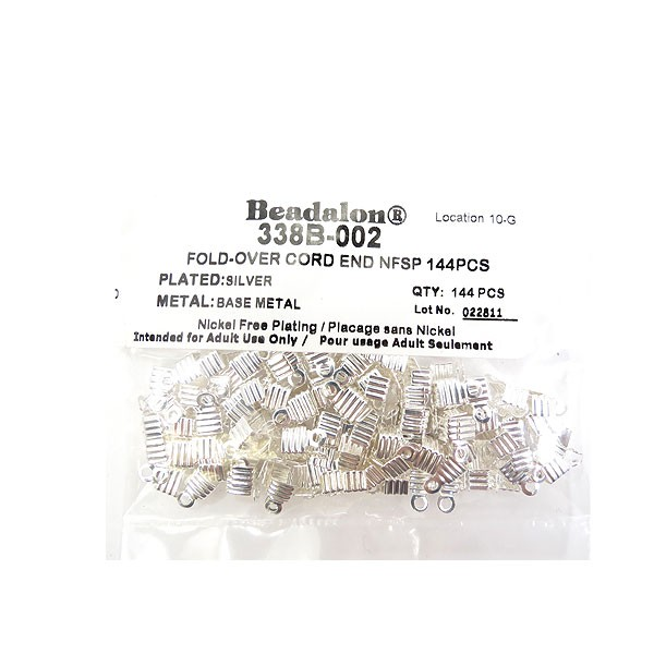 Cord Ends, Fold-Over, Silver Plated, 144 pc