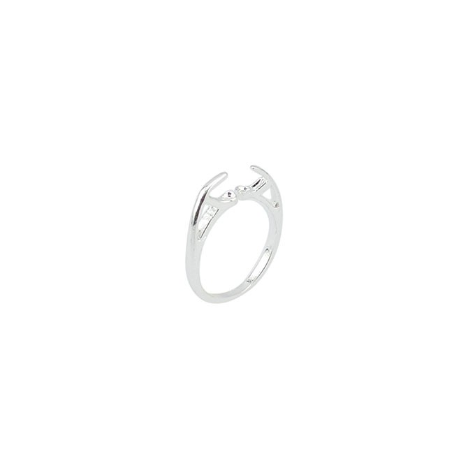 Stonesett, Tension Mount Ring, Double Facing, Adjustable from size 4 to 8, Silver Plated, Fits 5.0 - 6.0mm stones, 1pc