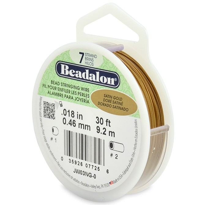 7 Strand Stainless Steel Bead Stringing Wire, .018 in (0.46 mm), Satin Gold, 30 ft (9.2 m)