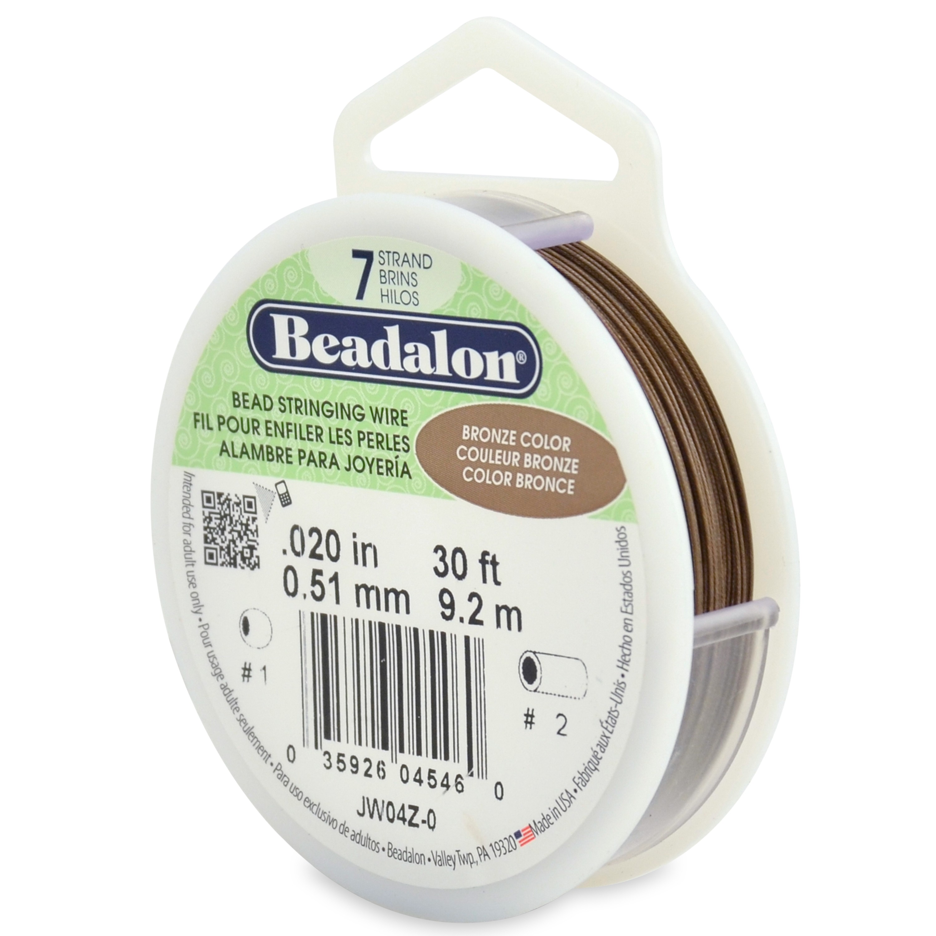 7 Strand Stainless Steel Bead Stringing Wire, .020 in (0.51 mm), Bronze, 30 ft (9.2 m)