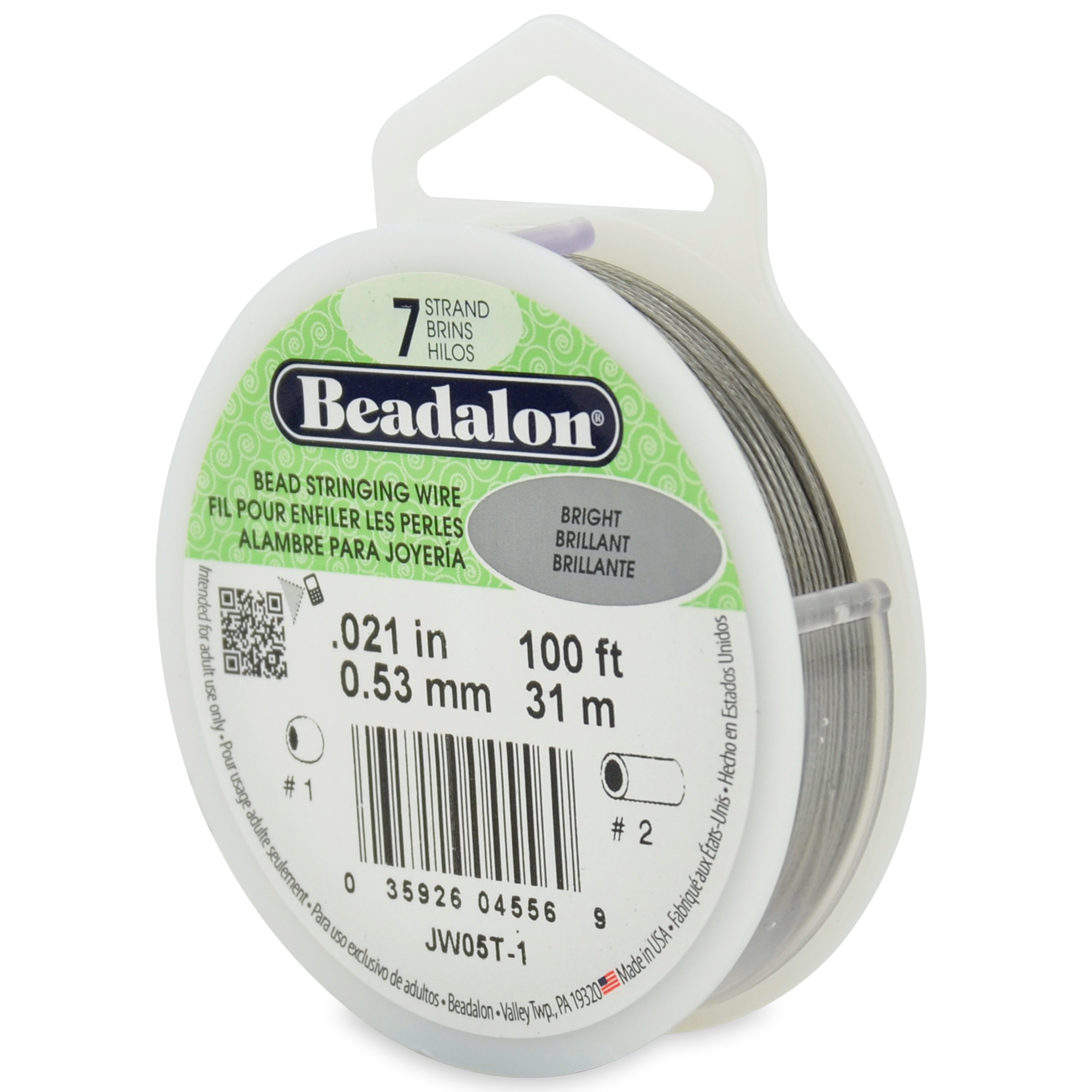 7 Strand Stainless Steel Bead Stringing Wire, .021 in (0.53 mm), Bright, 100 ft (31 m)
