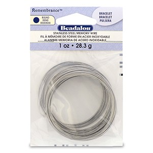 Remembrance Memory Wire, Round, Bracelet, Bright, 1 oz (28.35 g), appx 75 coils/pack
