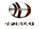Czech Glass Collection Table Cut Window Beads, Flat Oval Tiger Eye Clear Tortoise 7 inch Strand