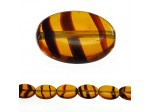 Czech Glass Collection Table Cut Window Beads, Flat Oval Tiger Eye Tortoise 7 inch Strand