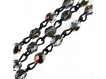 Czech Linked Rosary Chain, 4mm Crystal Marea Coated Faceted Beads, Black Linked Chain, (Sold by the Meter)