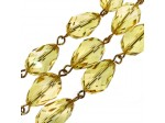 Czech Linked Rosary Chain, 12mm Sharp Yellow Pear Cut Crystal Beads, Gold Linked Chain, (Sold by the Meter)