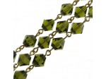 Czech Linked Rosary Chain, 7mm Olivine Crystal Bicone Beads, Gold Linked Chain, (Sold by the Meter)