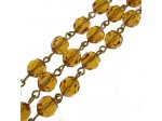 Czech Linked Rosary Chain, 7mm Round Topaz Crystal Beads, Gold Linked Chain, (Sold by the Meter)