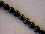 Czech Pressed Glass Heart Bead 6mm, Jet Black (Pkg of 300 Pieces)