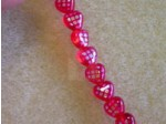 "Czech Pressed Glass Heart Shaped Bead 6mm, Ruby With Diamond Pattern, 7"" Strand"