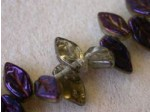 Czech Pressed Glass Leaf Bead 10x6mm, Light Amber Zarit Coated (Pkg of 300 Pieces)