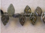 Czech Pressed Glass Leaf Bead 10x6mm, Black Diamond Valentinit (Pkg of 300 Pieces)