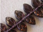 Czech Pressed Glass Leaf Bead 12x7mm, Amethyst Azuro Coated (Pkg of 300 Pieces)