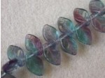Czech Pressed Glass Leaf Bead 12x7mm, Amethyst Aqua Green Combo (Pkg of 300 Pieces)
