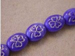 Pressed Glass Engraved Shamrock Bead 10x8mm, Opaque Blue Silver (Pkg of 300 Pieces)