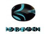 Czech Pressed Glass Flat Oval Bead 16x11mm, Aqua Tortoise (Pkg of 300 Pieces)