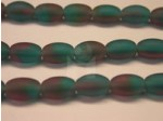 Czech Pressed Glass Rice Bead 9mm, Amethyst Aqua Green Matte (Pkg of 300 Pieces)