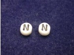 Czech Pressed Glass Alphabet Bead 6mm White Bead, Black Letter N (Pkg of 144 Pieces)