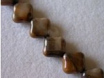 Czech Pressed Glass Diagonal Square Bead 12mm, Carmel Marble (Pkg of 300 Pieces)
