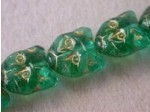 Czech Pressed Glass Cat Face Bead 14mm, Zircone Green Gold, (Pkg of 300 Pieces)
