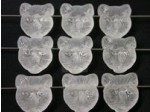 Czech Pressed Glass Cat Face Bead 14mm, Clear Matte Hole Across, (Pkg of 300 Pieces)