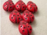 Czech Pressed Glass Lady Bug Bead 14x11mm, Red Black, (Pkg of 300 Pieces)