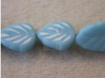 Czech Pressed Glass Leaf Bead 10x8mm, Turqoise (Pkg of 300 Pieces)