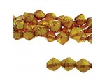 Czech Pressed Glass Faceted Bicone Bead 8mm, Yellow Opaque (Pkg of 300 Pieces)
