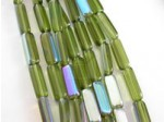 "Czech Pressed Glass Squared Rectangle Bead, Olive With AB Coating, 7"" Strand"