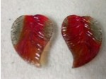 Czech Pressed Glass Leaf Bead 26x18mm, 12 Pieces Ruby Red Black Diamond