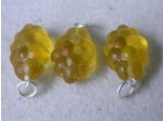 Czech Glass Grape Pendat Amber, Silver Loop