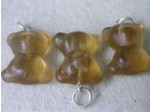 Czech Glass Brown Teddy Bear Pendant, Silver