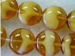 Czech Pressed Glass Disc Bead 14x6mm, 14x6mm, Carmel Cloud (Pkg of 300 Pieces)